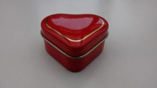 Pillendose Herz rot ohne Einsatz