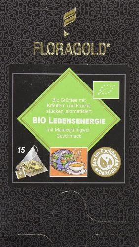 Lebensenergie Bio Grüntee im Pyramidenbeutel Box von Floragold