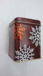 Tee Dose braun Schneeflocken eckig mit Stülpdeckel ca. 100 gr.