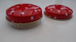 Pillendose rot rund mit Einsatz