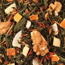 Nussstrudel Grüntee Mischung mit Walnuss-Orange-Geschmack