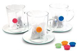 Teebeutelhalter Knopf aus Silikon in 4 Farben